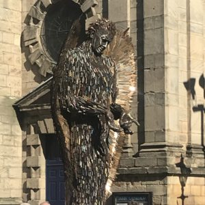 the knife angel sculpture in Derby made by Alfie Bradley